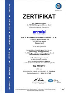 ISO certificate 9001: 2015